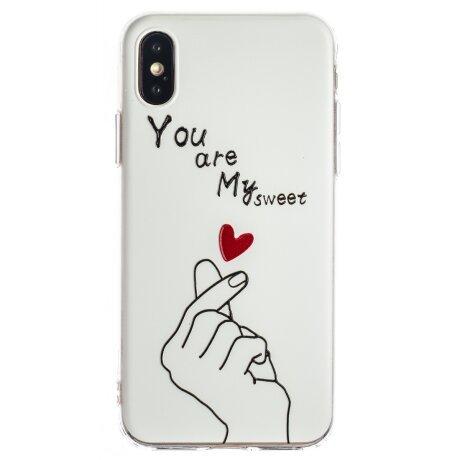 Husa Fashion iPhone X/XS, White My Sweet
