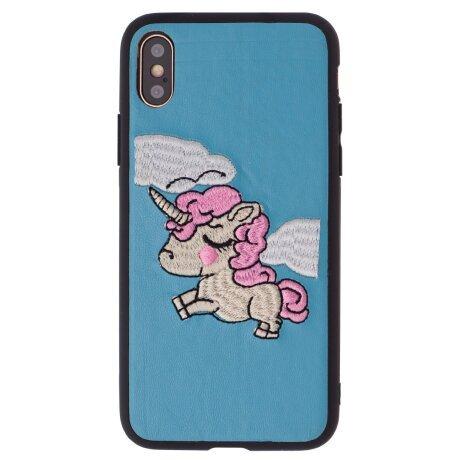 Husa Fashion Silicon iPhone X/XS, Unicorn Textil