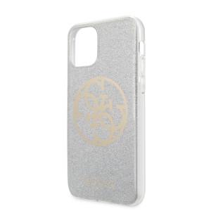 Husa hard Guess 4G Glitter Circle pentru iPhone 11, Gri