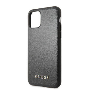 Husa Hard iPhone 11 Black Leather Guess