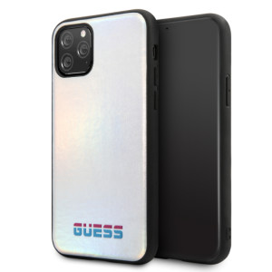 Husa Hard iPhone 11 Pro Iredescent Silver Pu Leather Guess