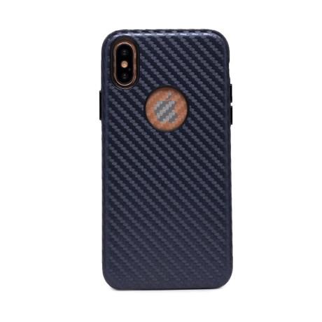 Husa hard Iphone X Albastru Piele Ecologica