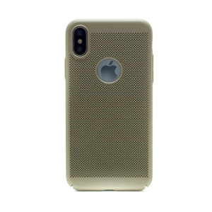 Husa hard iPhone X Auriu Model perforat