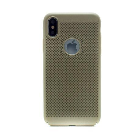 Husa hard iPhone X Auriu Model perforat