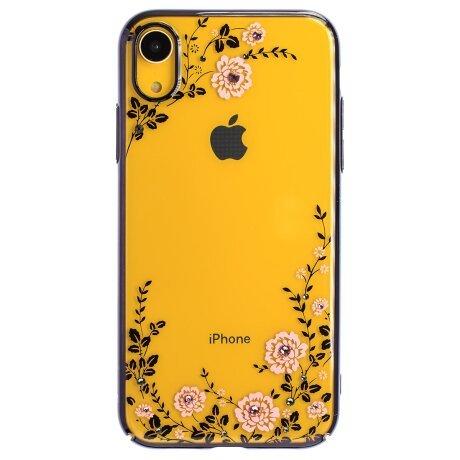 Husa Hard iPhone XR Kingxbar Flora Series, Black Frame
