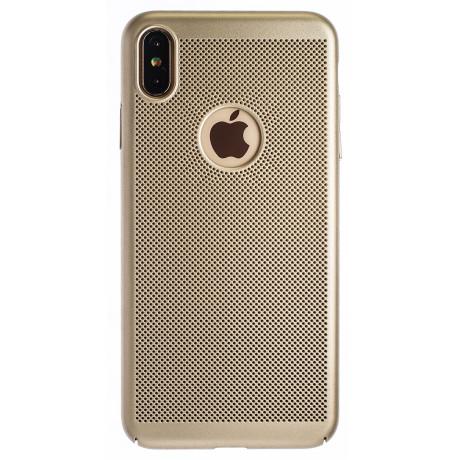 Husa hard iPhone XS Max Auriu- Model perforat