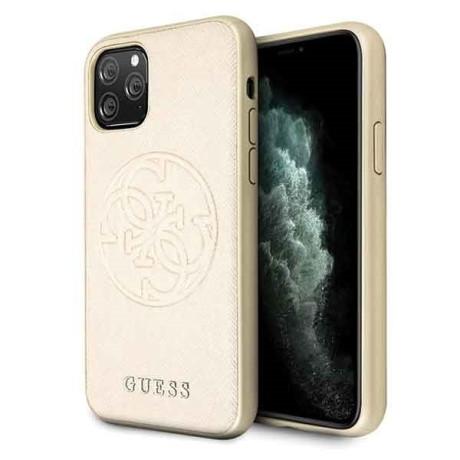 Husa iPhone 11 Pro, Saffiano Circle Logo , Guess Auriu
