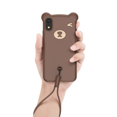 Husa iPhone XR Bear Silicone Maro Baseus
