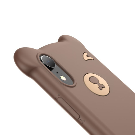 Husa iPhone XR 6.1'' Bear Silicone Maro Baseus