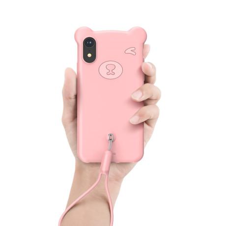 Husa iPhone XR 6.1'' Bear Silicone Roz Baseus