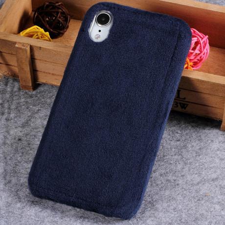 Husa  iPhone XR Fluffy Fur Albastru Inchis