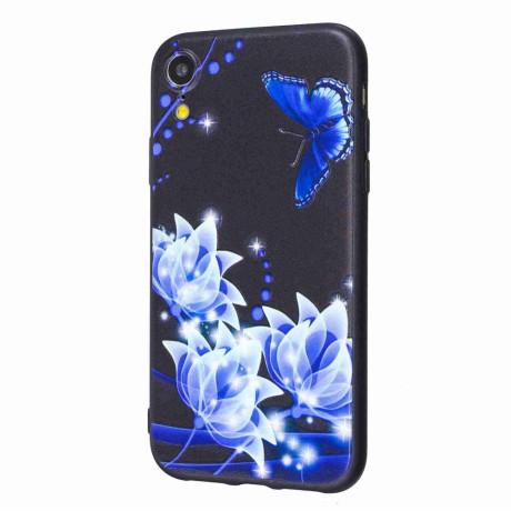 Husa iPhone XR, Printing Embossed, Blue Flower