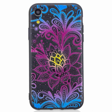 Husa iPhone XR 6.1'', Printing Embossed, Flowers Pattern