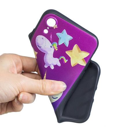 Husa iPhone XR Printing Embossed Unicorn and Star