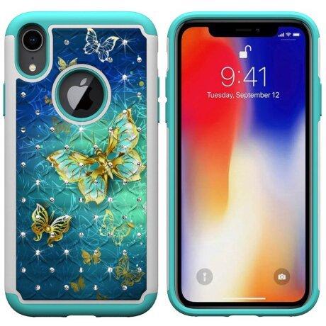 Husa iPhone XR Printing Rhinestone - Gold Butterfly