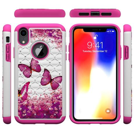 Husa iPhone XR Printing Rhinestone - Pink Butterfly