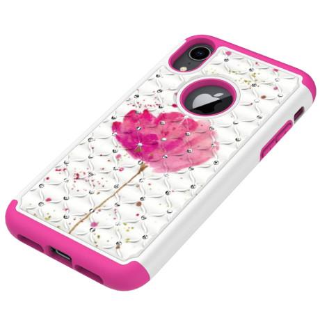 Husa iPhone XR Printing Rhinestone - Pink Flower