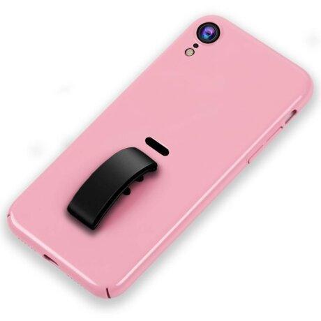 Husa iPhone XR 6.1'' Silicone Finger Grip Roz Howmak