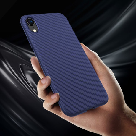 Husa iPhone XR 6.1'' Twill Texture Silicone Albastra