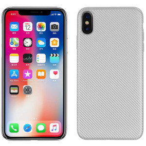 Husa iPhone XS Max Carbon Fiber Texture Argintie