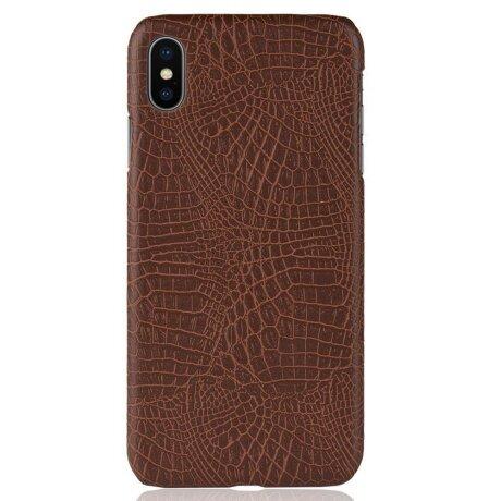 Husa iPhone XS Max Crocodile Texture Maro