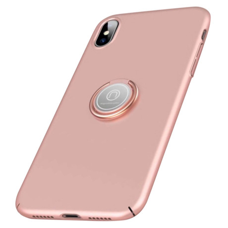 Husa iPhone XS Max 6.5'' Finger Ring Kickstand Roz Gold