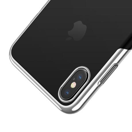 Husa hard pentru iPhone XS Max Glitter Electroplated, Baseus Alba