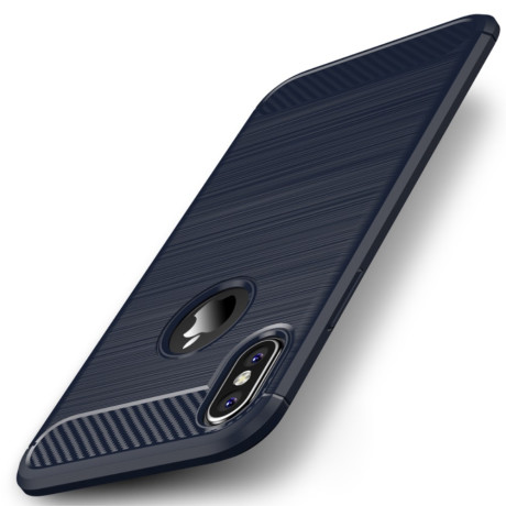 Husa iPhone XS/X 5.8'', Carbon Fiber, Ipaky, Albastra
