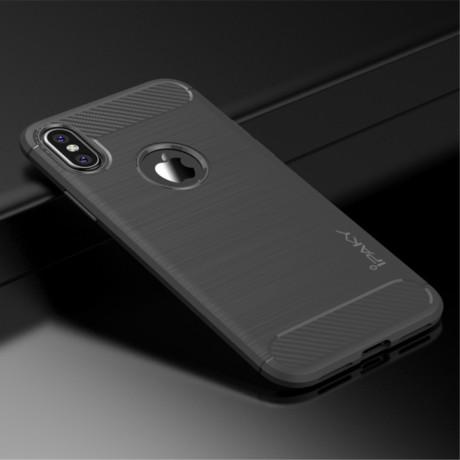 Husa iPhone XS/X 5.8'', Carbon Fiber, Ipaky, Gri