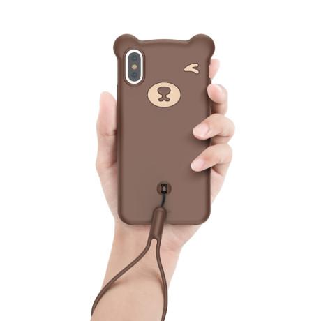 Husa iPhone X/XS 5.8'' Bear Silicone Maro Baseus