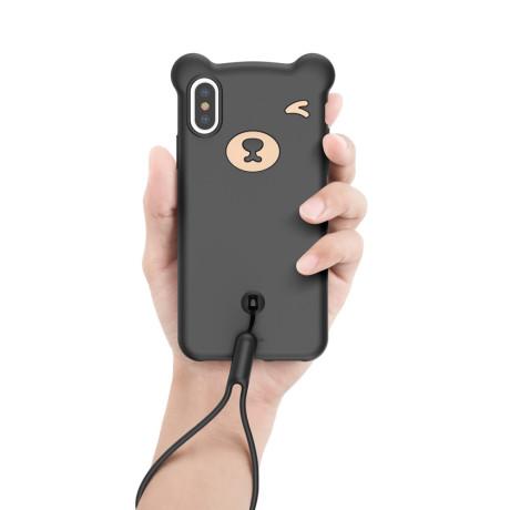 Husa iPhone X/XS Bear Silicone Neagra Baseus