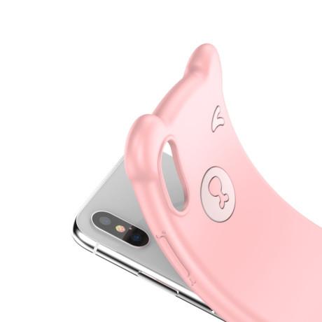 Husa iPhone X/XS 5.8'' Bear Silicone Roz Baseus