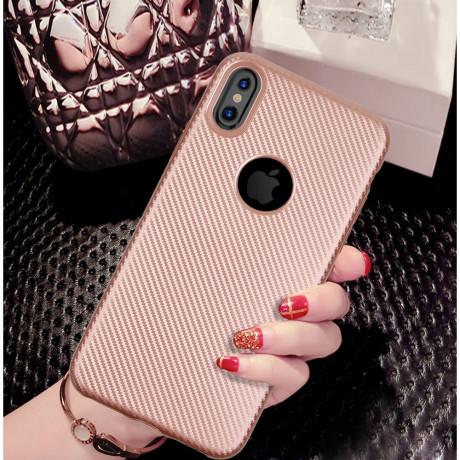 Husa iPhone X/Xs Carbon Fiber Texture Roz Gold