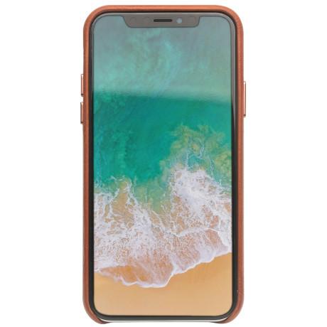 Husa iPhone X/Xs 5.8'' Leather Back Case Qialino Maro