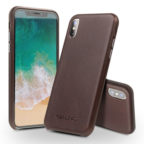 Husa iPhone X/Xs 5.8'' Leather Back Case Qialino Maro Inchis
