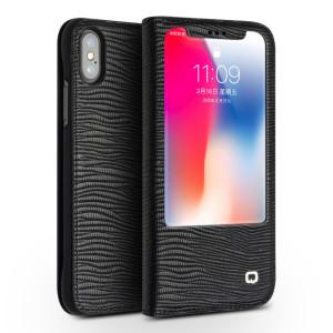 Husa iPhone X/Xs 5.8'' Lizard Texture Qialino Neagra