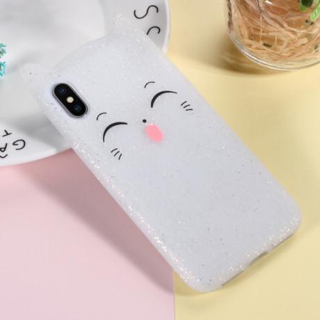 Husa iPhone X/XS 5.8'' Mustache Silicon 3D Alba