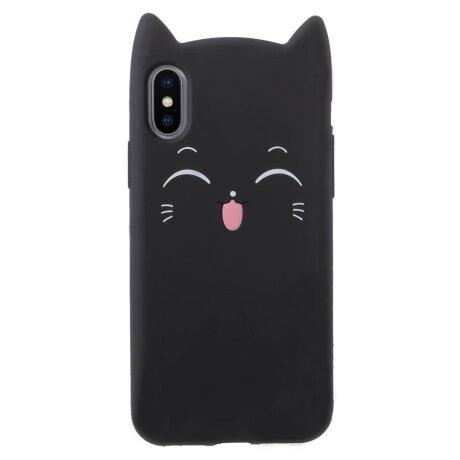 Husa iPhone X/XS 5.8'' Mustache Silicon 3D Neagra