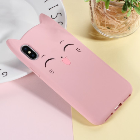 Husa iPhone X/XS 5.8'' Mustache Silicon 3D Roz
