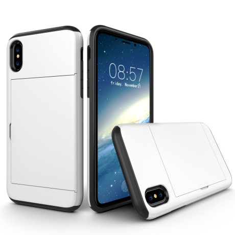 Husa iPhone X/Xs 5.8'' Sliding Card Holder Alba