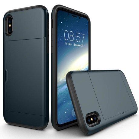Husa iPhone X/Xs 5.8'' Sliding Card Holder Albastru Inchis