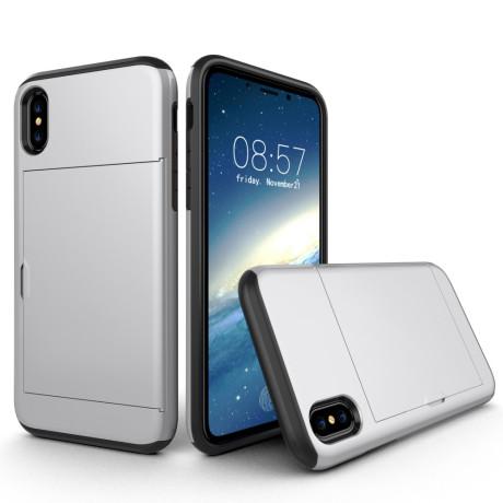 Husa iPhone X/Xs 5.8'' Sliding Card Holder Argintie