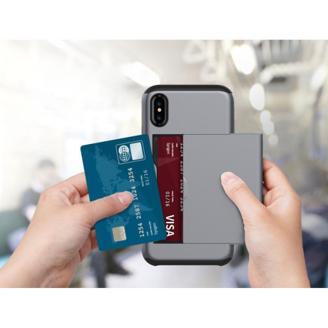 Husa iPhone X/Xs 5.8'' Sliding Card Holder Gri
