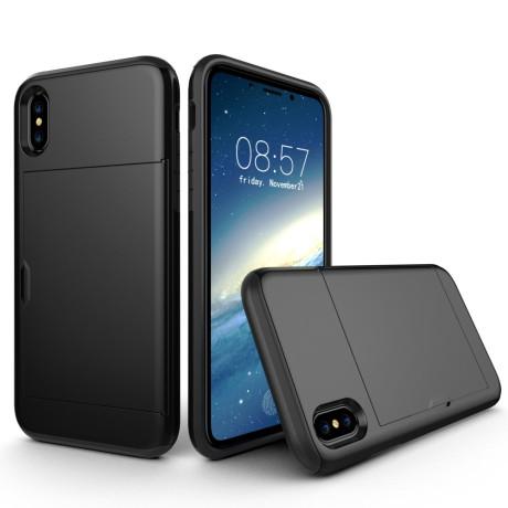 Husa iPhone X/Xs 5.8'' Sliding Card Holder Neagra
