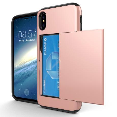 Husa iPhone X/Xs 5.8'' Sliding Card Holder Roz Gold