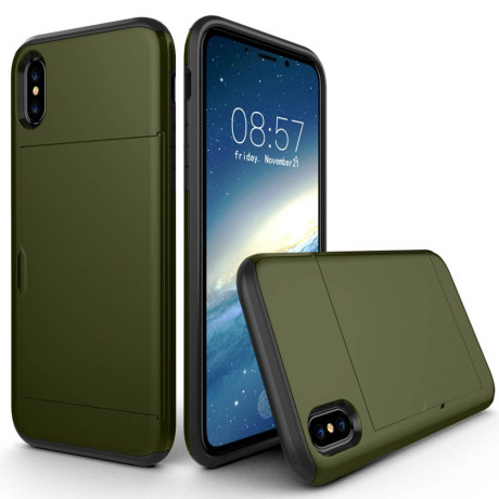 Husa iPhone X/Xs 5.8'' Sliding Card Holder Verde