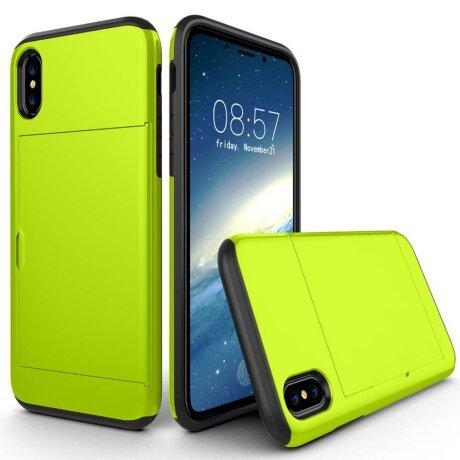 Husa iPhone X/Xs 5.8'' Sliding Card Holder Verde Deschis