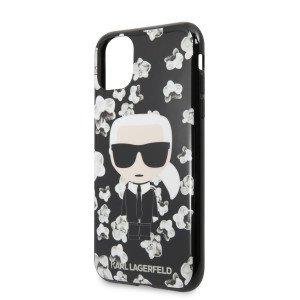 Husa Karl Lagerfeld TPU Flower pentru iPhone 11 Negru
