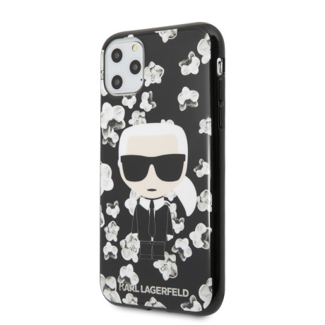 Husa Karl Lagerfeld TPU Flower pentru iPhone 11 Pro Negru