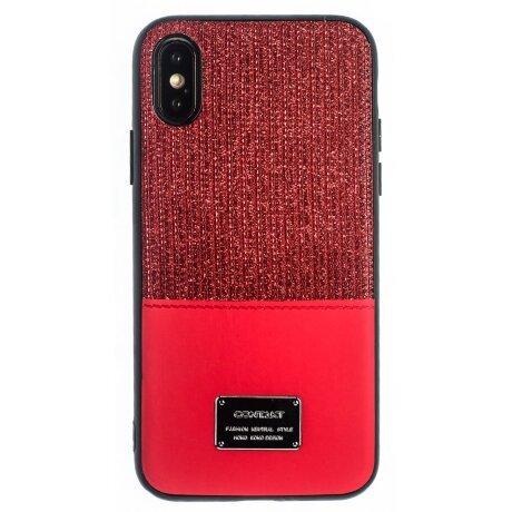 Husa Magnetica iPhone X/XS, Rosu Glitter CTK